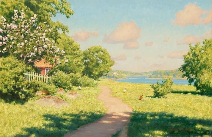 Pixerstick Aufkleber Johan Krouthén - Landschaft mit Hühnern - Reproductions