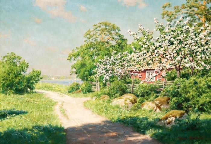 Papier peint vinyle Johan Krouthén - Route de campagne - Reproductions