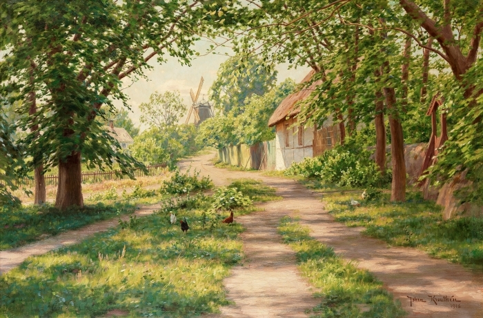 Papier peint vinyle Johan Krouthén - Paysage d'été avec moulin à vent - Reproductions