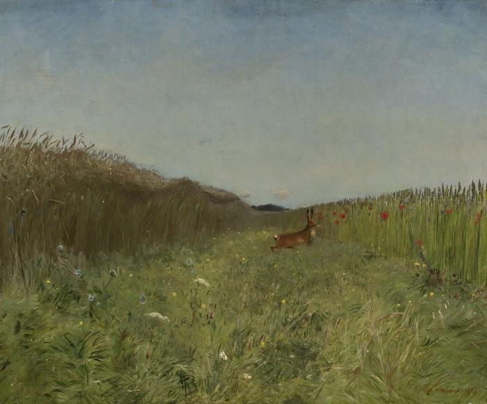 Papier peint vinyle Józef Chełmoński - Lièvre dans le champ - Reproductions