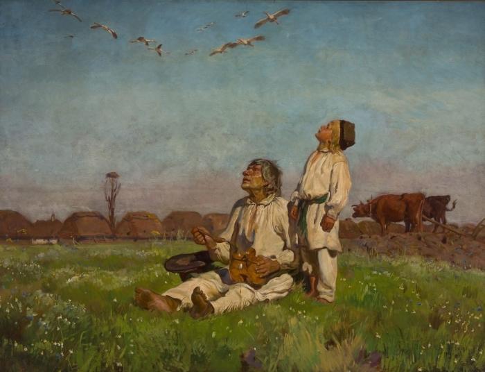 Vinilo Pixerstick Józef Chełmoński - Cigüeñas - Reproductions