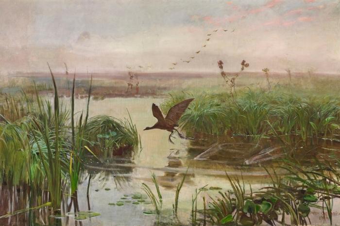 Sticker Pixerstick Józef Chełmoński - Poule d'eau - Reproductions