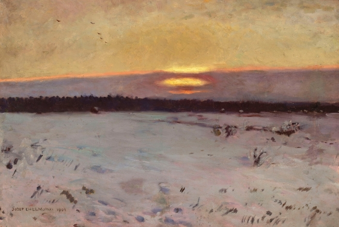 Vinyl-Fototapete Józef Chełmoński - Sonnenuntergang im Winter - Reproductions