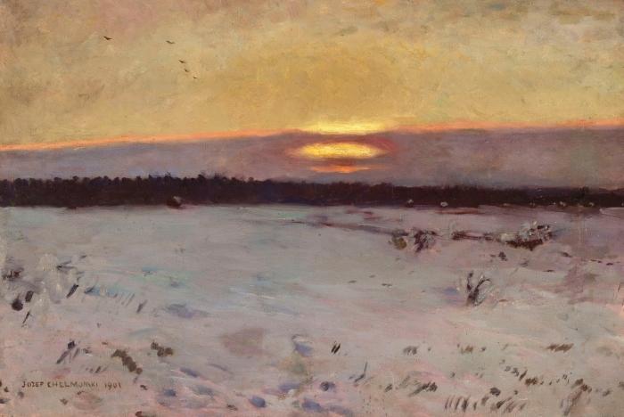 Papier peint vinyle Józef Chełmoński - Coucher de soleil en hiver - Reproductions