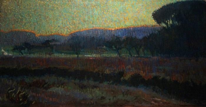 Papier peint vinyle Leo Gestel - Vallée avec des arbres - Reproductions
