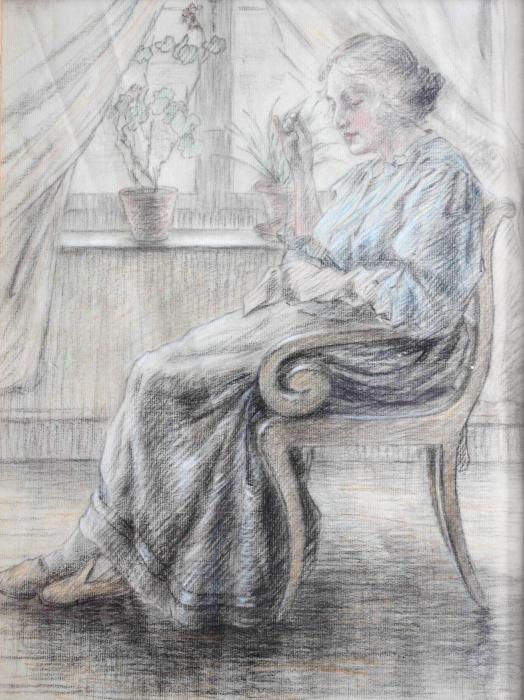 Carta da Parati in Vinile Leo Gestel - Donna mentre lavora a maglia - Reproductions