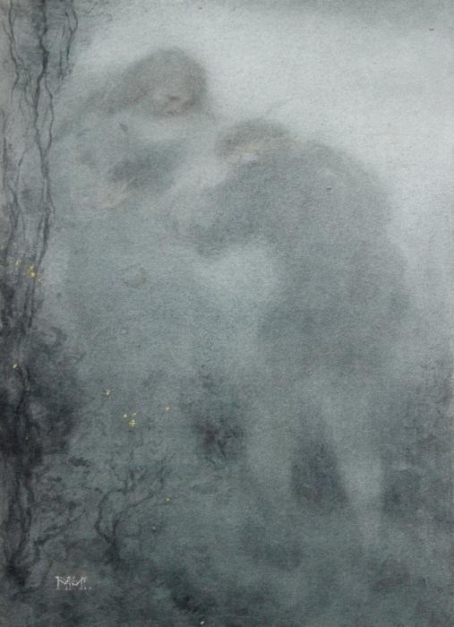 Papier peint vinyle Matthijs Maris - Figures dans les bois - Reproductions