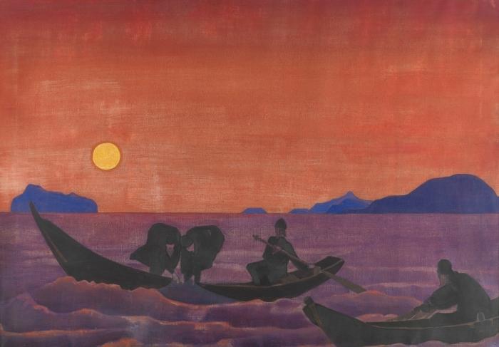 Sticker Pixerstick Nicolas Roerich - Et nous continuons à pêcher - Nicholas Roerich