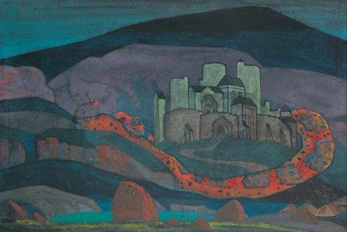 Sticker Pixerstick Nicolas Roerich - La ville sinistrée - Nicholas Roerich