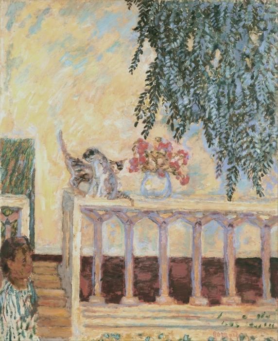 Pixerstick Aufkleber Pierre Bonnard - Katzen auf dem Geländer - Reproductions