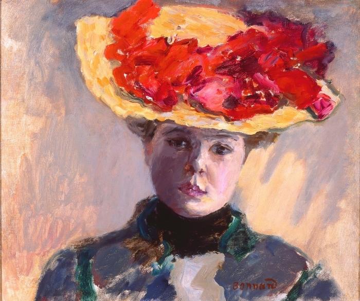 Naklejka Pixerstick Pierre Bonnard - Dziewczyna w słomkowym kapeluszu - Reproductions