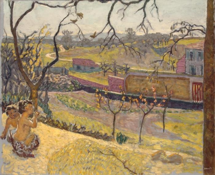 Vinilo Pixerstick Pierre Bonnard - Comienzo de la primavera. Pequeños faunos - Reproductions