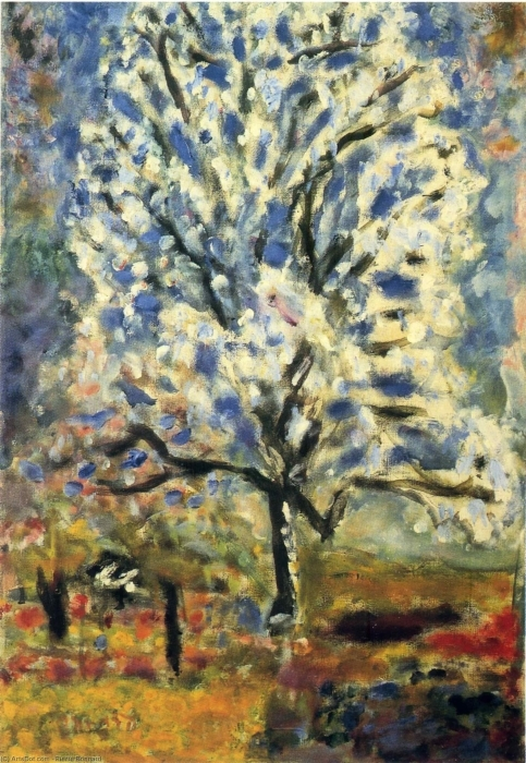 Naklejka Pixerstick Pierre Bonnard - Kwitnące drzewko migdałowe - Reproductions