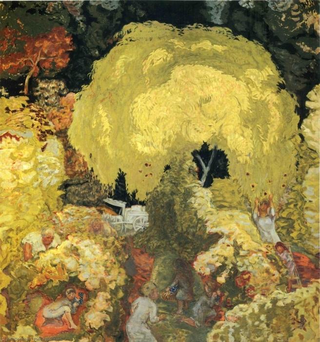 Papier peint vinyle Pierre Bonnard - Les cueilleurs de fruits - Reproductions