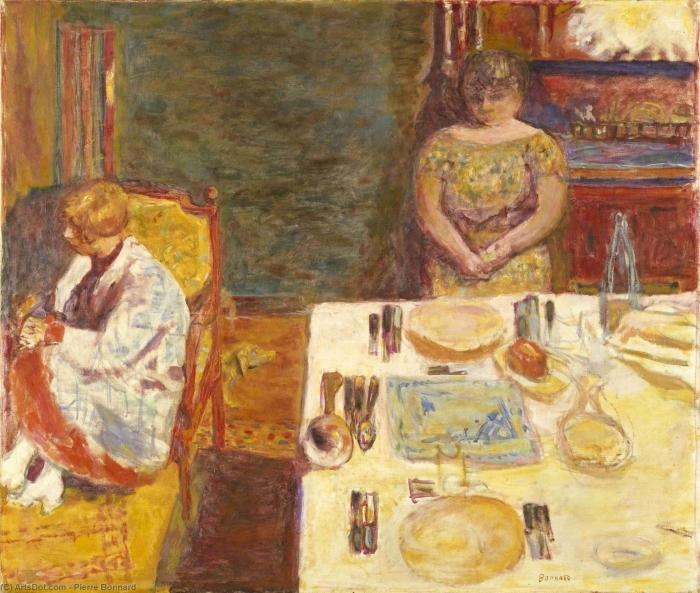 Gerahmtes Poster Pierre Bonnard - Vor dem Mittagessen - Reproductions