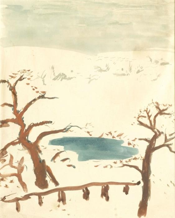 Vinilo Pixerstick Pierre Bonnard - Paisaje invernal - Reproductions
