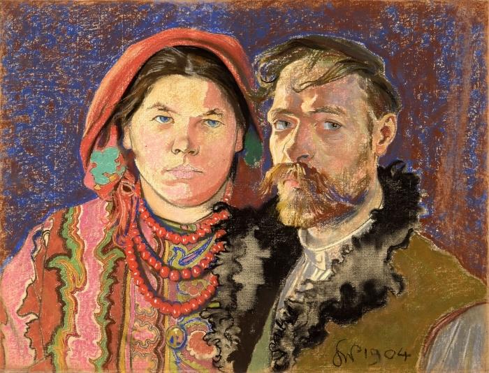 Naklejka Pixerstick Stanisław Wyspiański - Portret artysty z żoną - Reproductions