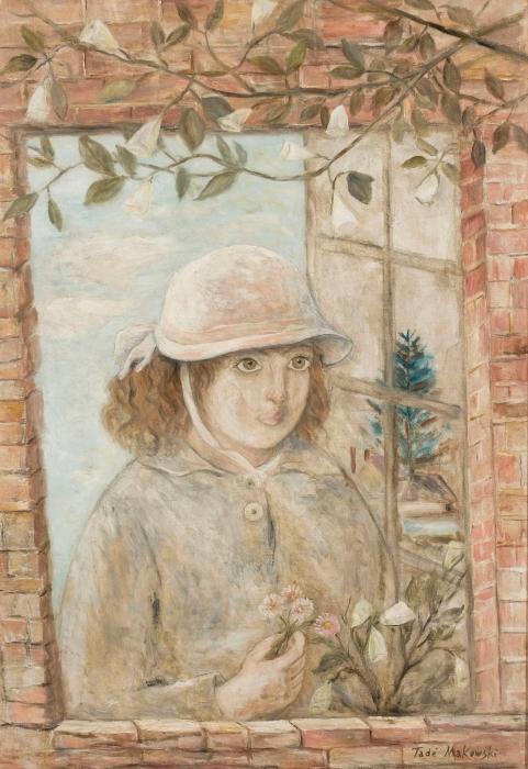 Pixerstick Aufkleber Tadeusz Makowski - Fenster in Blumen - Reproductions
