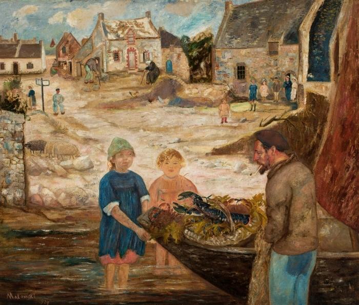 Papier peint vinyle Tadeusz Makowski - Retour de la pêche à l'écrevisse - Reproductions