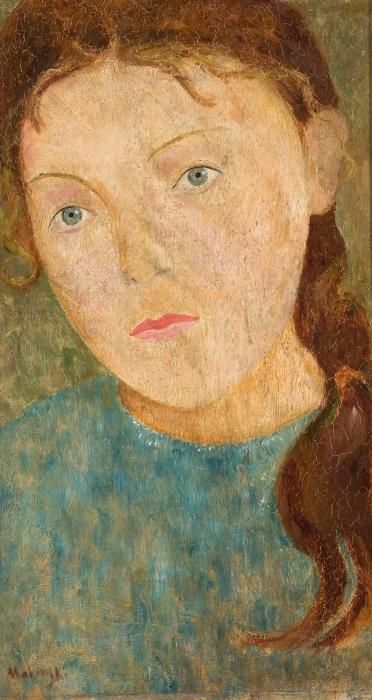 Tadeusz Makowski - Girl with a Red Braid Vinyl Wall Mural - Reproductions