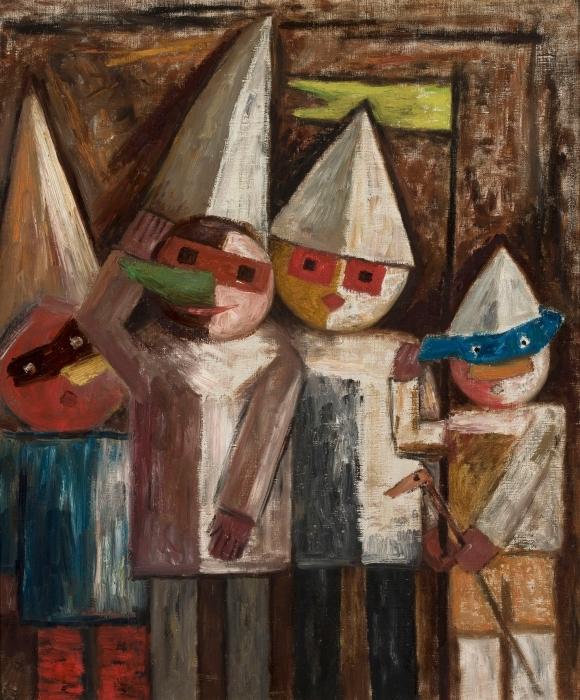 Papier peint vinyle Tadeusz Makowski - Carnaval des enfants avec un drapeau - Reproductions