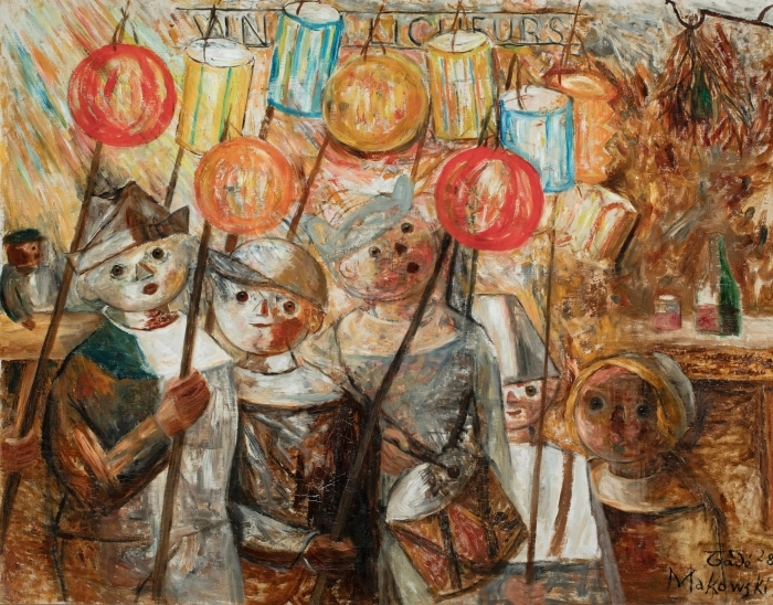 Tadeusz Makowski - Children With Torches Pixerstick Sticker - Reproductions