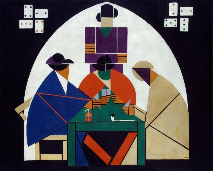 Theo van Doesburg - Card Players Pixerstick Sticker - Reproductions
