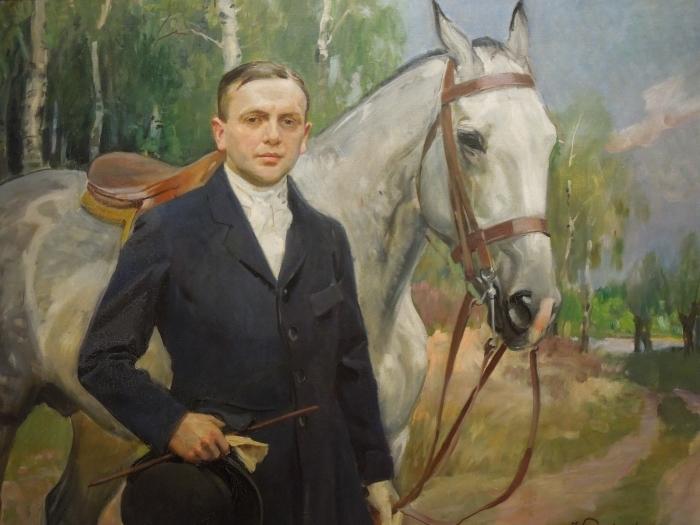 Sticker Pixerstick Wojciech Kossak - Portrait de Bronisław Krystall avec un cheval - Reproductions