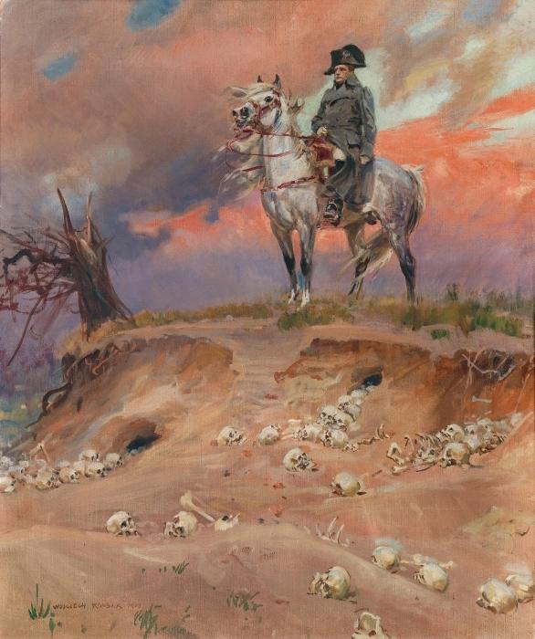 Sticker Pixerstick Wojciech Kossak - Napoléon sur le champ de bataille - Reproductions