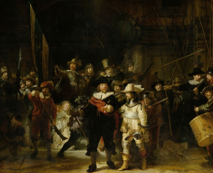 Naklejka Pixerstick Rembrandt - Kompania Fransa Banninga Cocqa i Willema van Ruytenburcha - Reprodukcje