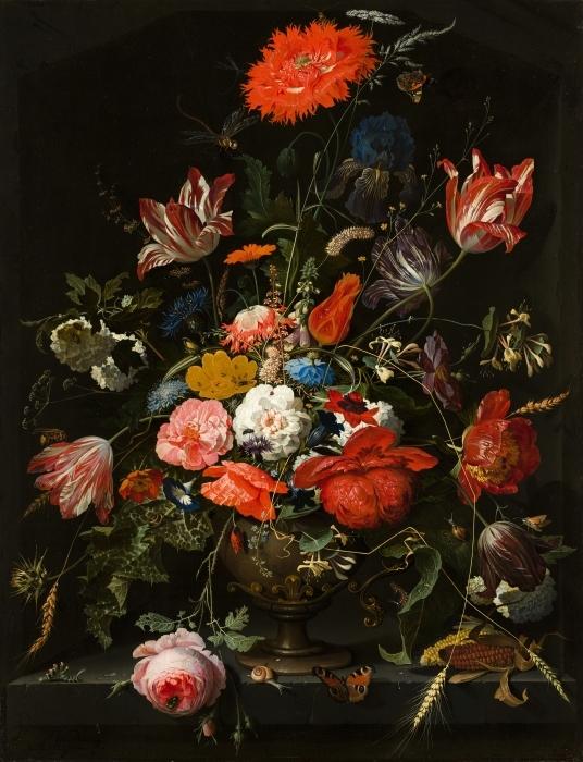 Papier peint vinyle Abraham Mignon - Flowers in a Metal Vase - Reproductions