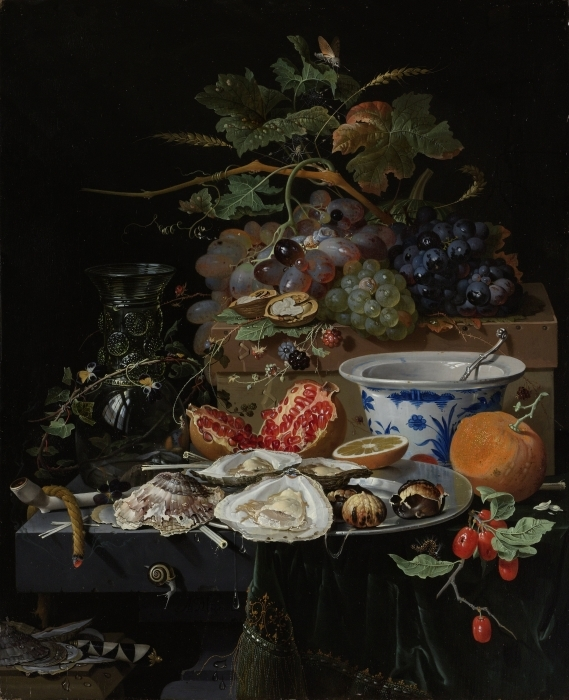 Abwaschbare Fototapete Abraham Mignon - Still Life with Flowers, Oysters and a Porcelain Bow - Reproduktion