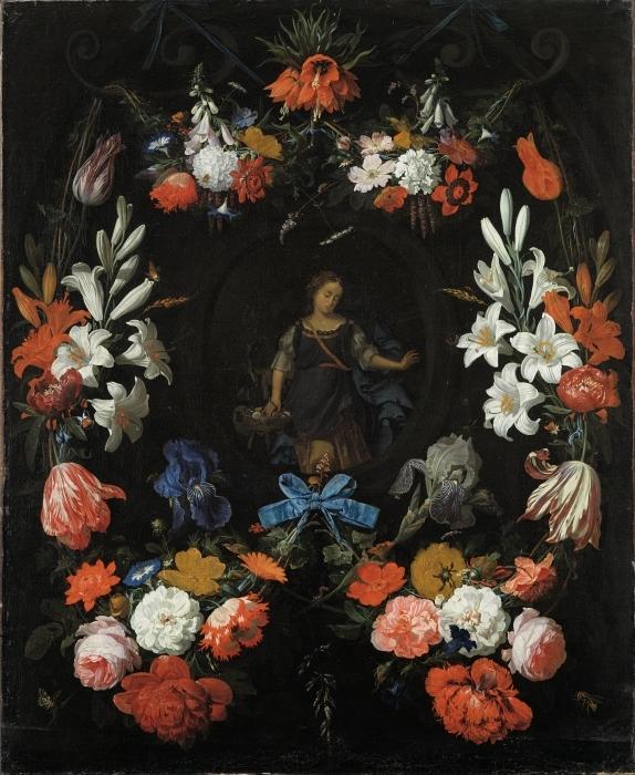Pixerstick Aufkleber Abraham Mignon - Garland of Flowers - Reproduktion