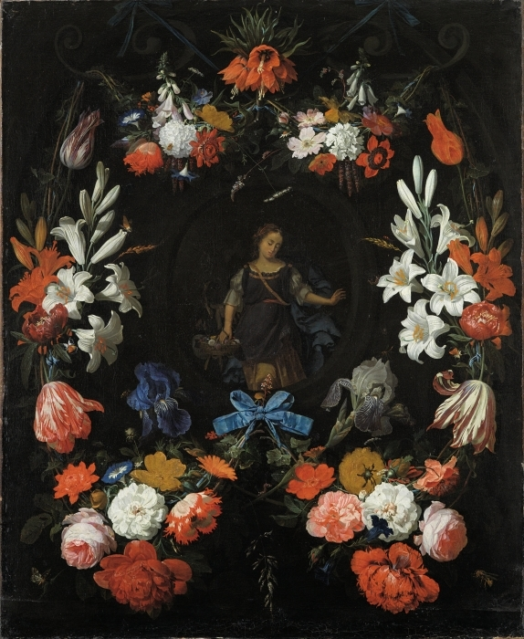 Vinyl Fotobehang Abraham Mignon - Garland of Flowers - Reproducties