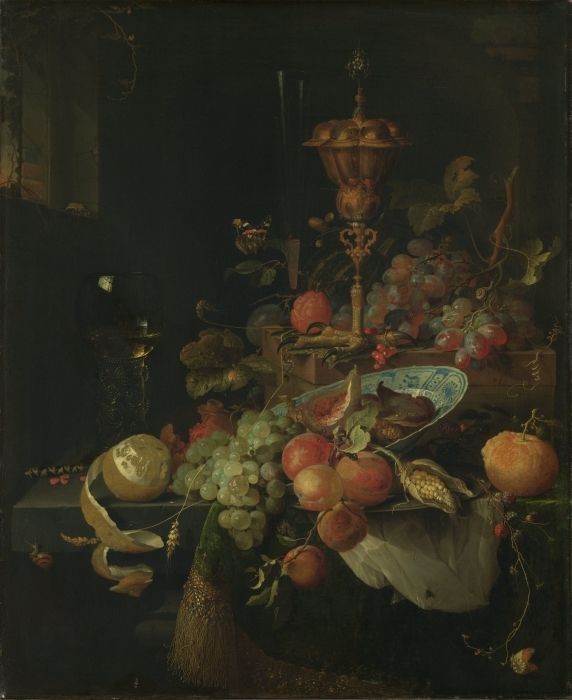 Naklejka Pixerstick Abraham Mignon - Still life with fruit and a bowl on a roosters leg - Reprodukcje