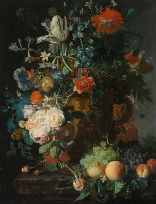 Abwaschbare Fototapete Jan van Huysum - Still life with flowers - Reproduktion