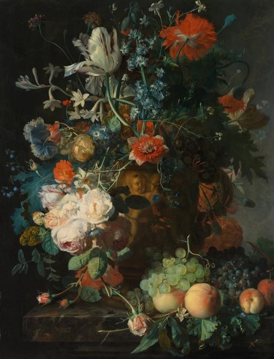 Pixerstick Aufkleber Jan van Huysum - Still life with flowers - Reproduktion