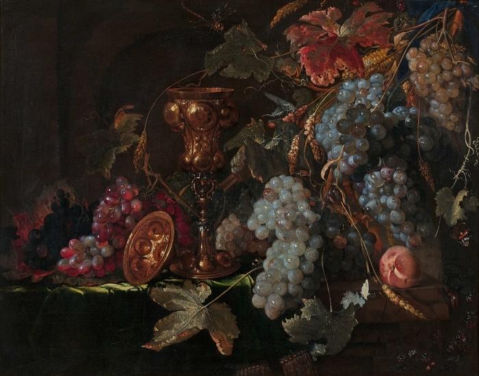 Papier peint vinyle Abraham Mignon - Grape and silverware cup on an entablature - Reproductions
