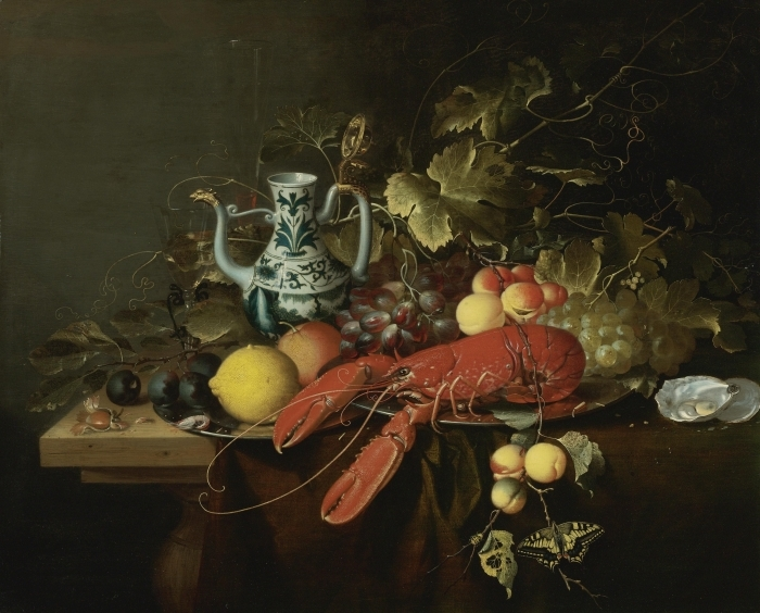 Fototapeta winylowa Laurens Craen - Still Life With A Lobster On A Pewter Plate, Lemons, Grapes, Apricots, Oysters - Reprodukcje
