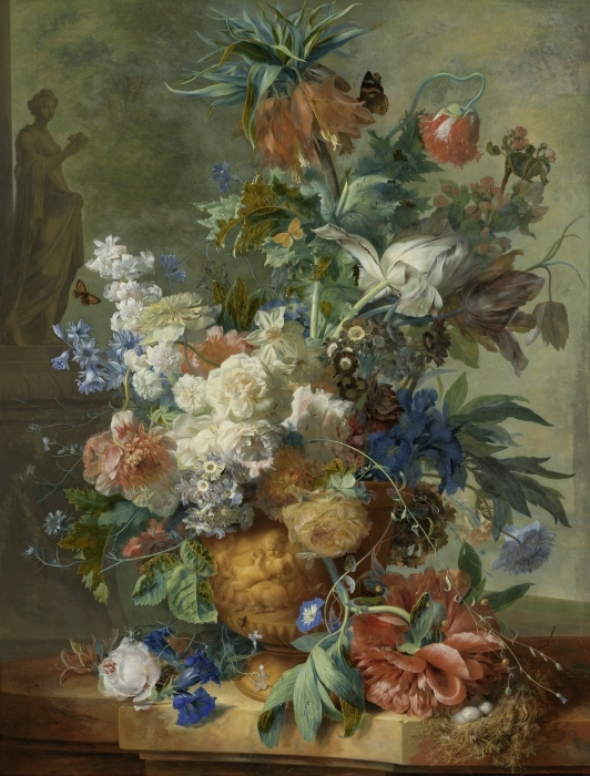 Abwaschbare Fototapete Jan van Huysum - Still Life with Flowers - Reproduktion