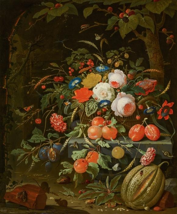 Pixerstick Aufkleber Abraham Mignon - Flowers and Fruit - Reproduktion