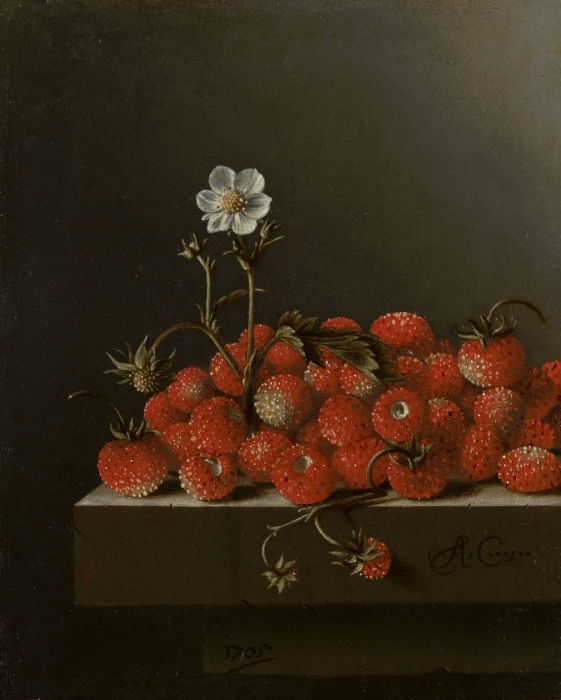 Fototapeta winylowa Adriaen Coorte - Still Life with Wild Strawberries - Reprodukcje
