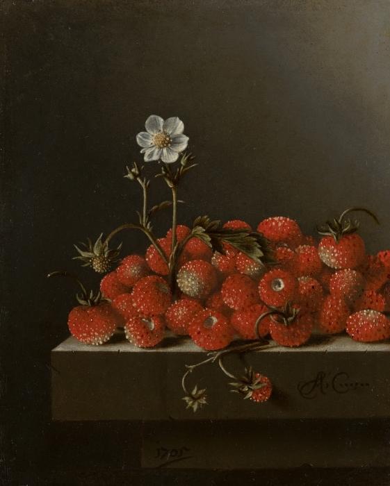 Sticker Pixerstick Adriaen Coorte - Still Life with Wild Strawberries - Reproductions