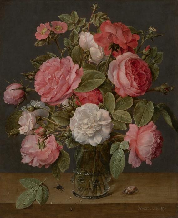 Fototapeta winylowa Jacob van Hulsdonck - Roses in a Glass Vase - Reprodukcje