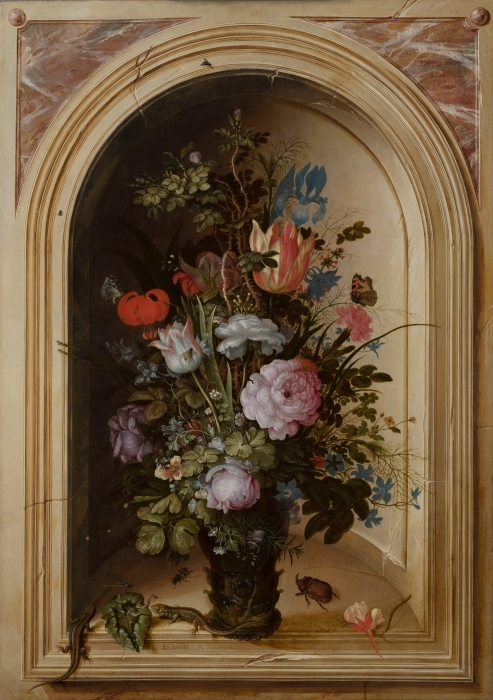 Vinyl-Fototapete Roelant Savery - Vase with Flowers in a Stone Niche - Reproduktion