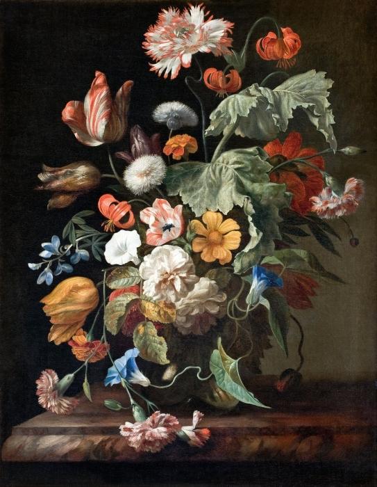 Pixerstick Aufkleber Rachel Ruysch - Still-Life with Flowers - Reproduktion