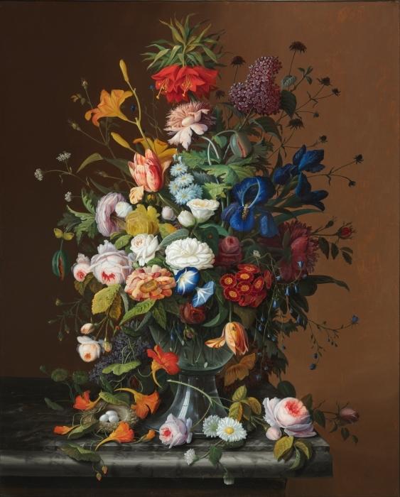 Pixerstick Aufkleber Severin Roesen - Flower Still Life with Bird's Nest - Reproduktion