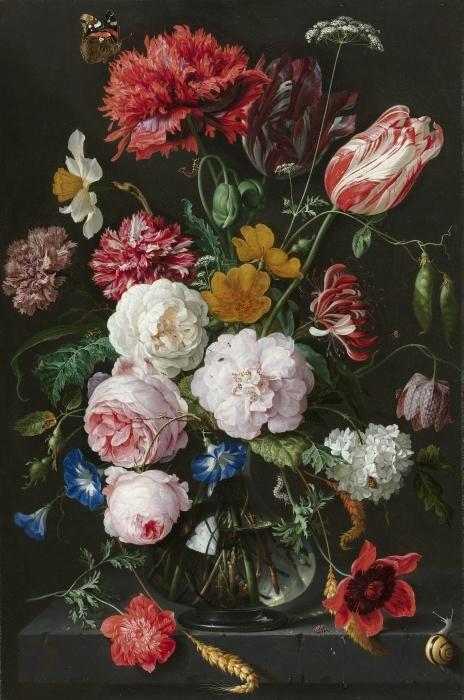Pixerstick Aufkleber Jan Davidsz - Still Life with Flowers in a Glass Vase - Reproduktion