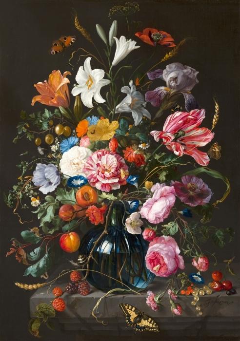 Pixerstick Aufkleber Jan Davidsz - Vase of Flowers - Reproduktion
