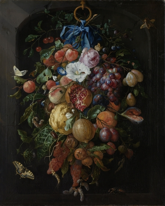 Pixerstick Aufkleber Jan Davidsz - Festoon of Fruit and Flowers - Reproduktion
